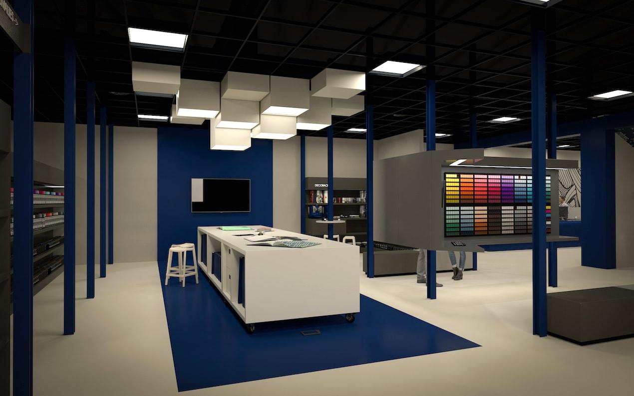 Don Pintura. Proyecto de diseño de interior de sus instalaciones centrales. Zona de trabajo.