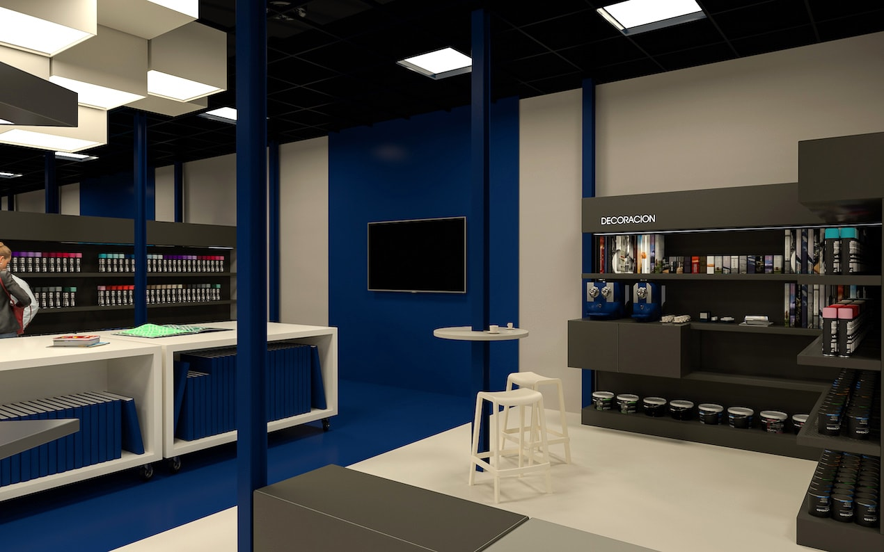 don pintura zona lounge - Don Pintura. Diseño de sus instalaciones centrales.